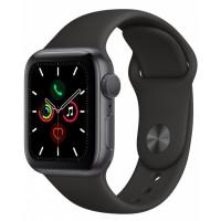 Apple Watch Series 5, 44 мм, Серый Космос, Спортивный Черный Ремешок