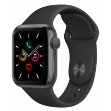 Apple Watch Series 5, 40 мм, Серый Космос, Спортивный Черный Ремешок