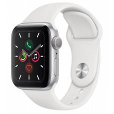 Apple Watch Series 5, 40 мм, Серебряные, Спортивный Ремешок Белый